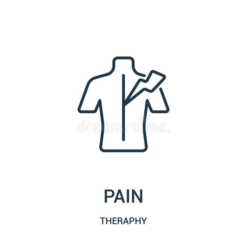 vector del icono del dolor de la colección del theraphy Línea fina ejemplo del vector del icono del esquema del dolor ilustración del vector