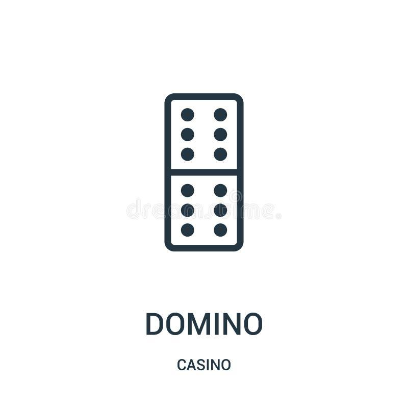 vector del icono del dominó de la colección del casino Línea fina ejemplo del vector del icono del esquema del dominó ilustración del vector