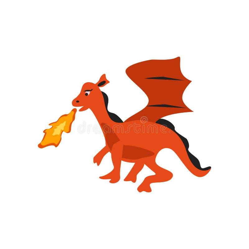 Vector del icono del dragón aislado en el fondo blanco, muestra del dragón, c libre illustration