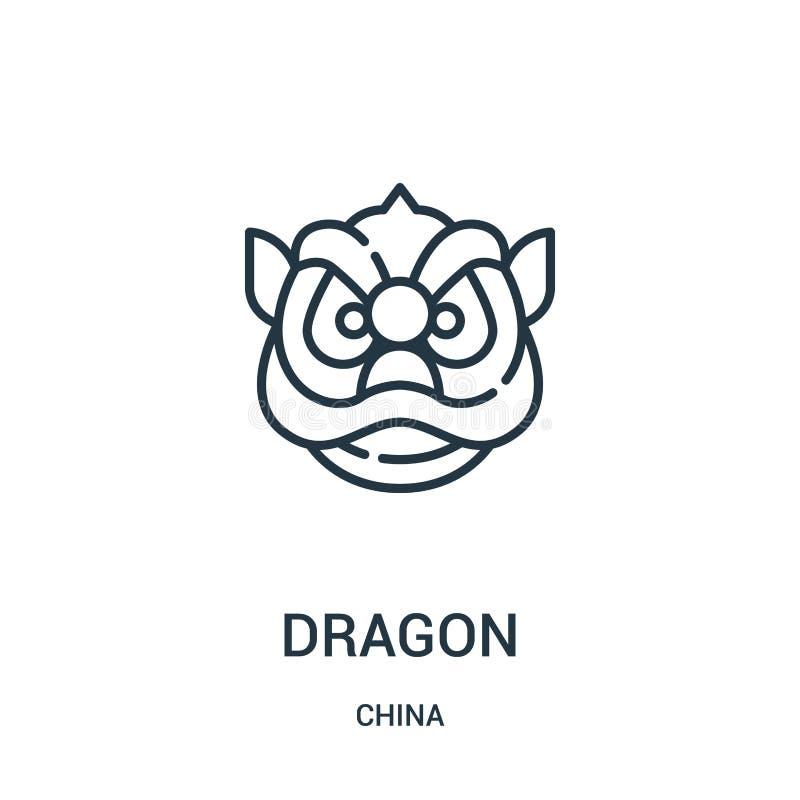 vector del icono del dragón de la colección de China Línea fina ejemplo del vector del icono del esquema del dragón Símbolo linea libre illustration