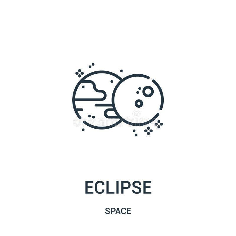 vector del icono del eclipse de la colecci?n del espacio L?nea fina ejemplo del vector del icono del esquema del eclipse libre illustration