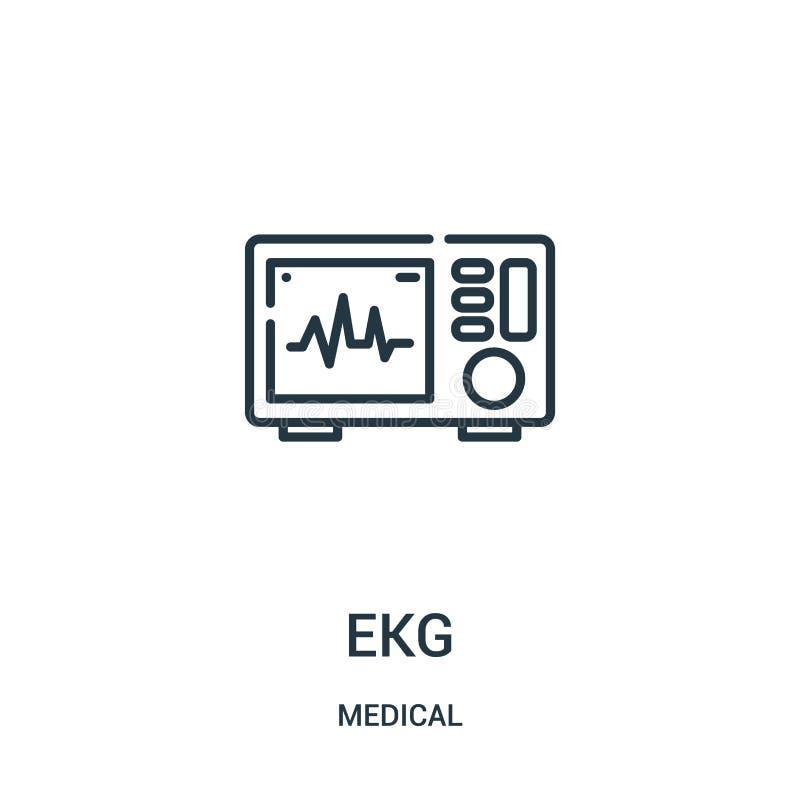 vector del icono del ekg de la colección médica Línea fina ejemplo del vector del icono del esquema del ekg ilustración del vector