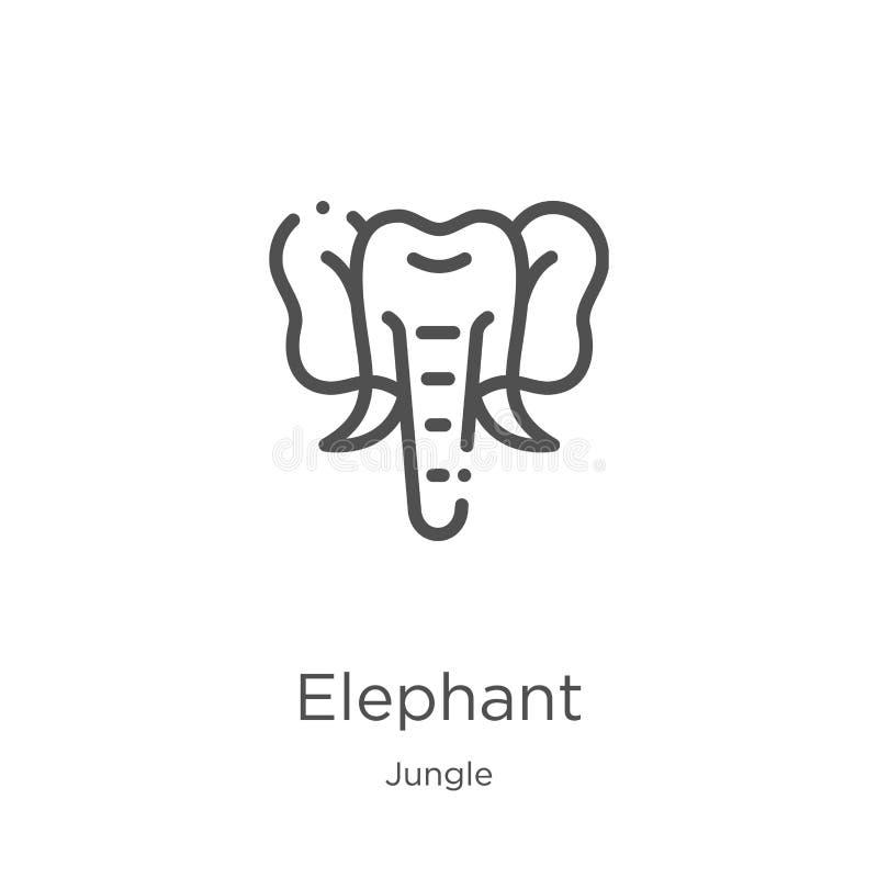 vector del icono del elefante de la colección de la selva Línea fina ejemplo del vector del icono del esquema del elefante Esquem stock de ilustración