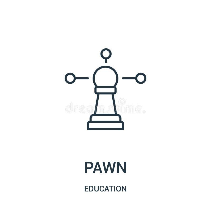 vector del icono del empeño de la colección de la educación Línea fina ejemplo del vector del icono del esquema del empeño stock de ilustración