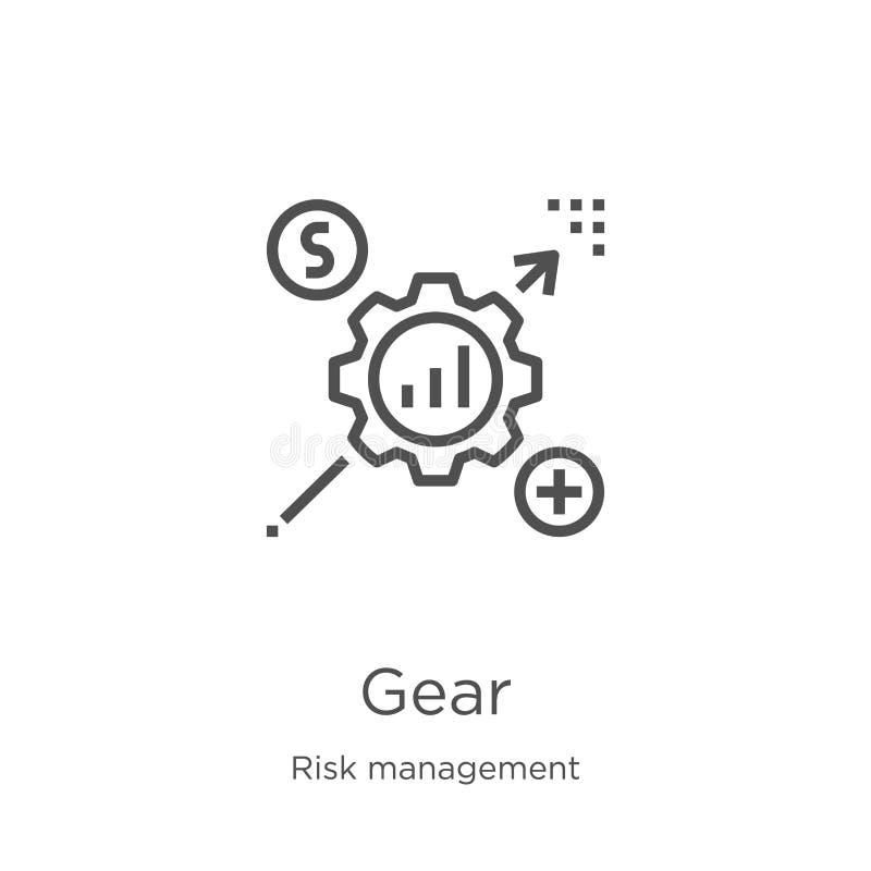 vector del icono del engranaje de la colección de la gestión de riesgos Línea fina ejemplo del vector del icono del esquema del e ilustración del vector