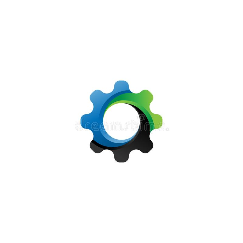 Vector del icono del engranaje Ejemplo del elemento del logotipo Diseño del símbolo de la rueda dentada Puede ser utilizado como  libre illustration
