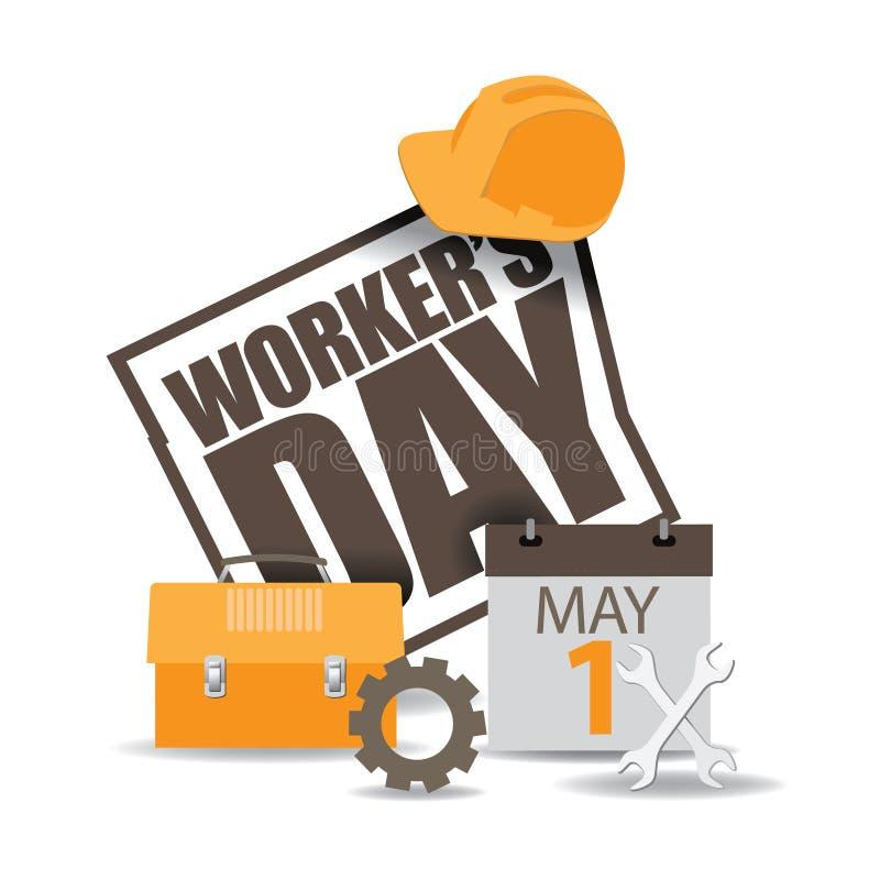 Vector del icono EPS 10 del día de los trabajadores de mayo primer ilustración del vector