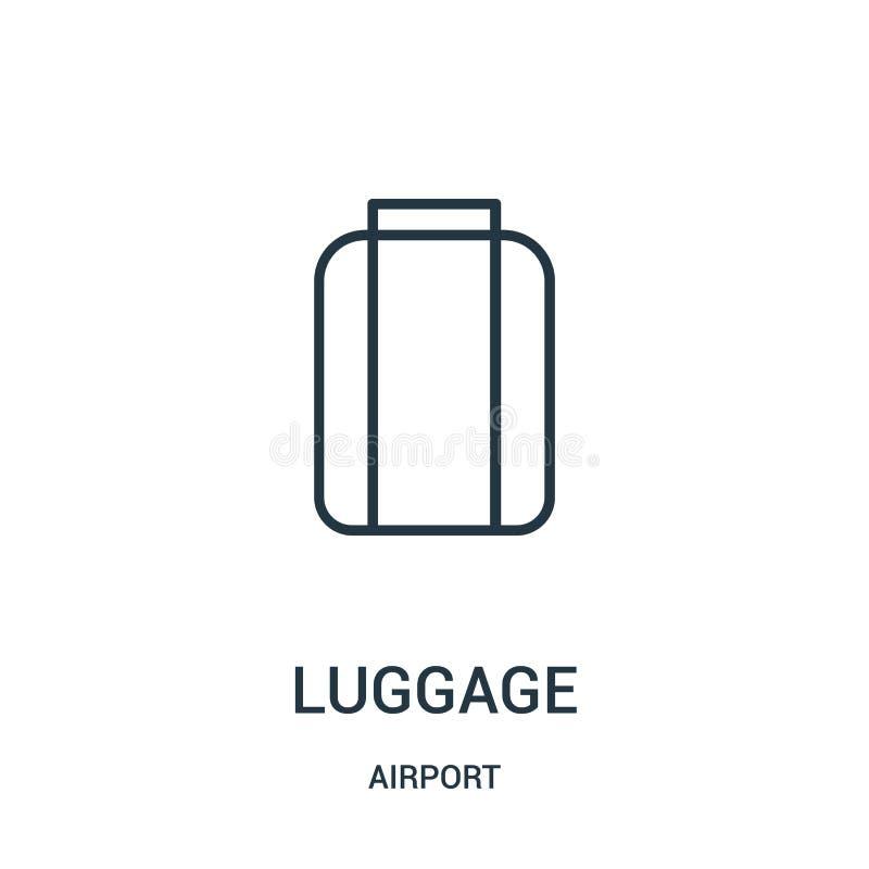 vector del icono del equipaje de la colecci?n del aeropuerto L?nea fina ejemplo del vector del icono del esquema del equipaje ilustración del vector