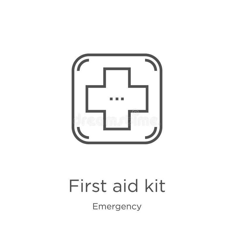 vector del icono del equipo de primeros auxilios de la colección de la emergencia Línea fina ejemplo del vector del icono del esq libre illustration