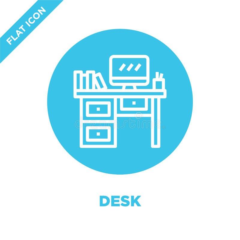 vector del icono del escritorio de la colección de los muebles Línea fina ejemplo del vector del icono del esquema del escritorio libre illustration