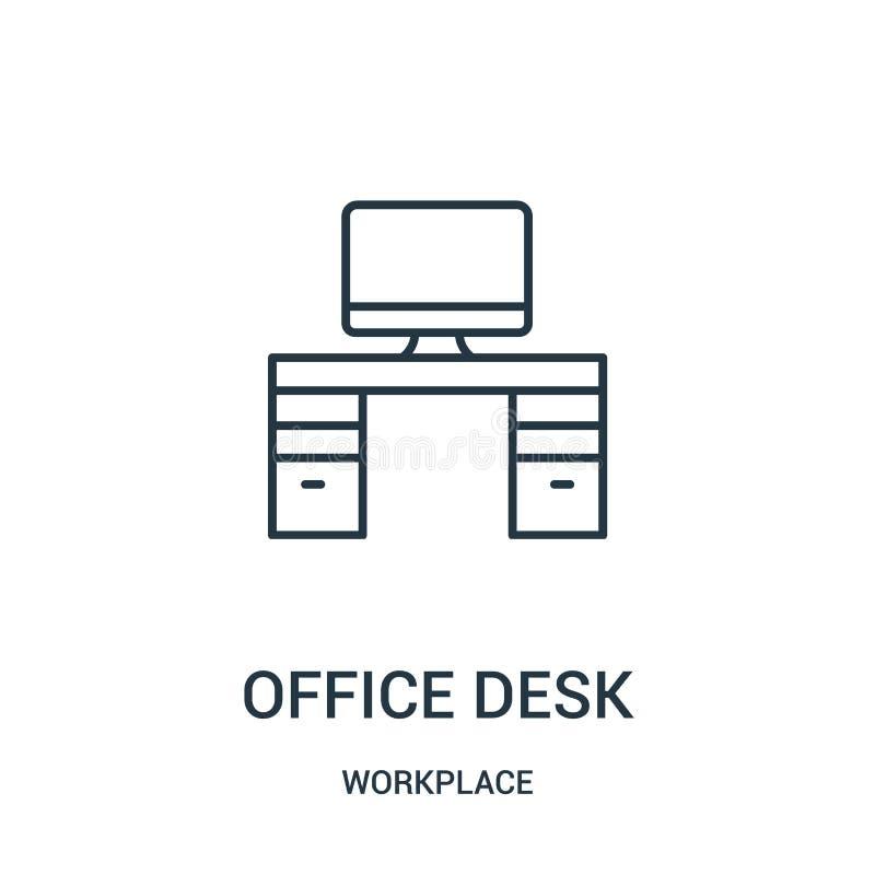 vector del icono del escritorio de oficina de la colección del lugar de trabajo Línea fina ejemplo del vector del icono del esque libre illustration