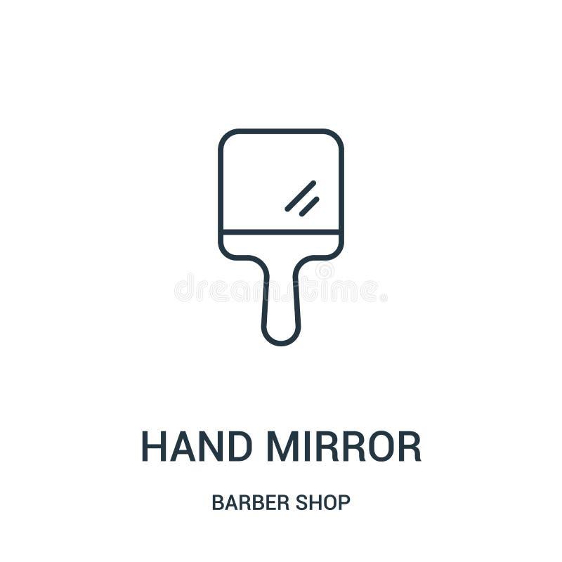 vector del icono del espejo de mano de la colección de la peluquería de caballeros Línea fina ejemplo del vector del icono del es stock de ilustración