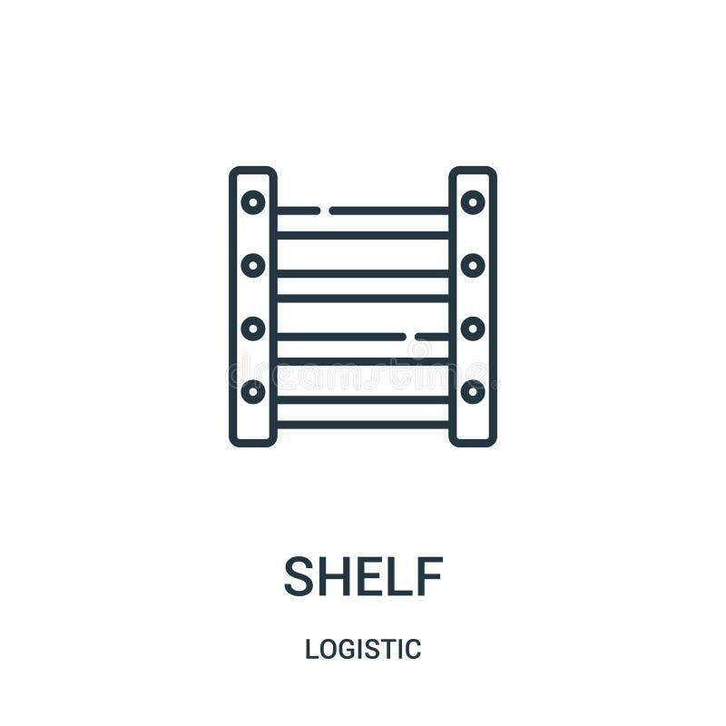 vector del icono del estante de la colección logística Línea fina ejemplo del vector del icono del esquema del estante stock de ilustración