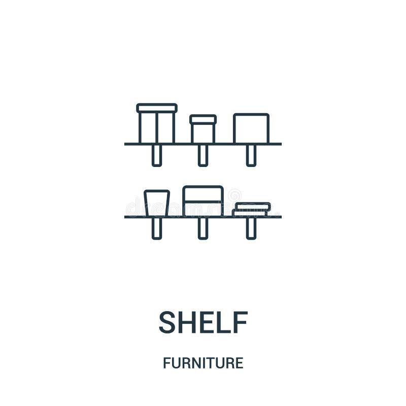 vector del icono del estante de la colección de los muebles Línea fina ejemplo del vector del icono del esquema del estante Símbo stock de ilustración