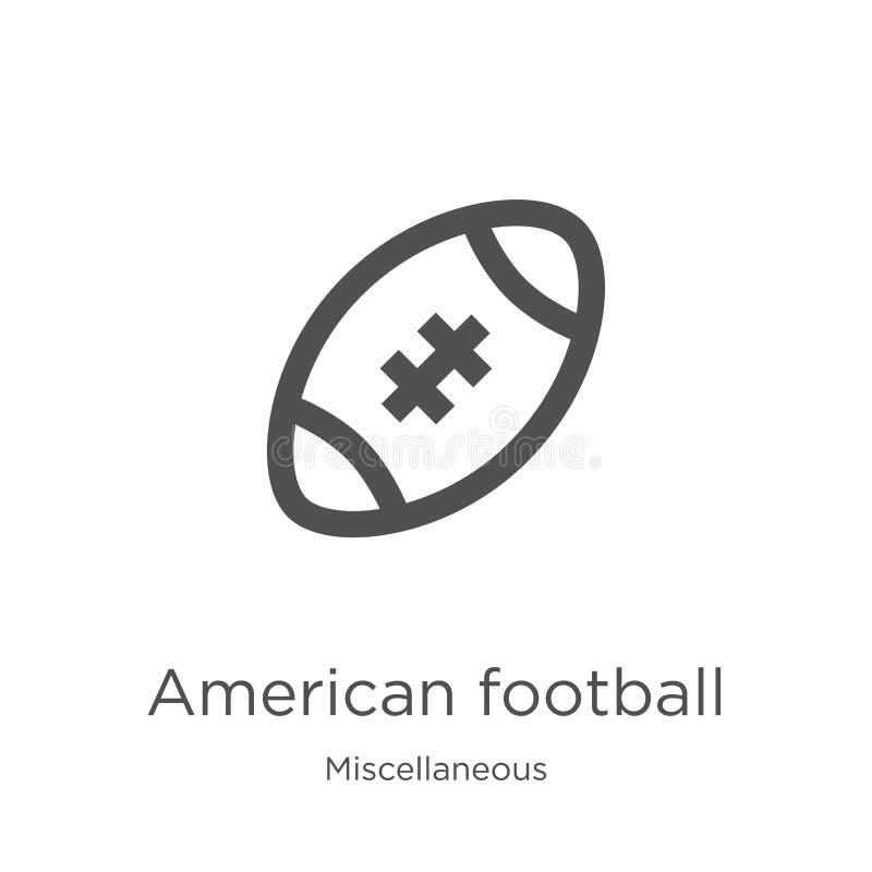 vector del icono del fútbol americano de la colección diversa Línea fina ejemplo del vector del icono del esquema del fútbol amer ilustración del vector