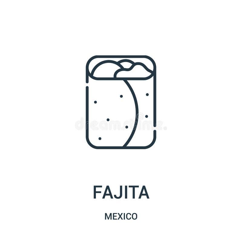 vector del icono del fajita de la colección de México Línea fina ejemplo del vector del icono del esquema del fajita ilustración del vector
