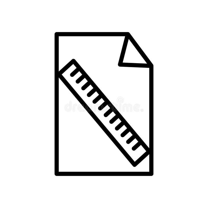 Vector del icono del fichero aislado en el fondo, la muestra del fichero, la línea y los elementos blancos del esquema en estilo  stock de ilustración