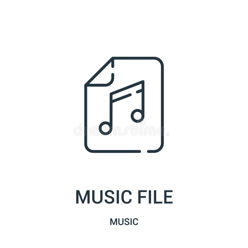 vector del icono del fichero de la música de la colección de música L?nea fina ejemplo del vector del icono del esquema del fiche stock de ilustración