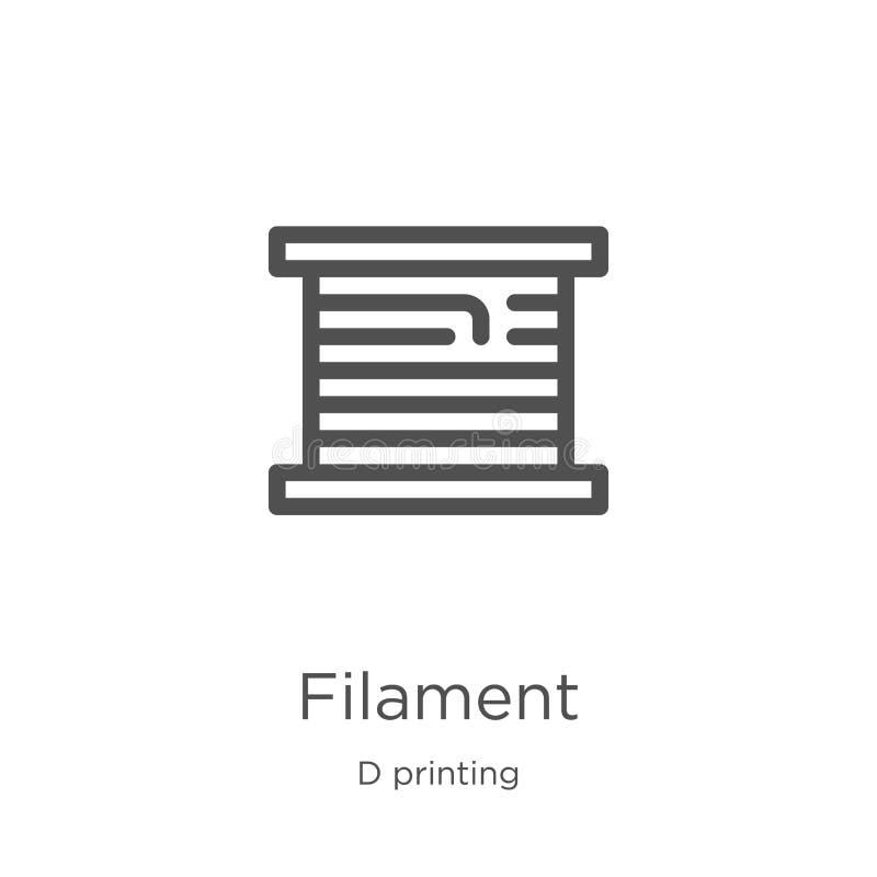 vector del icono del filamento de la colección de impresión de d Línea fina ejemplo del vector del icono del esquema del filament ilustración del vector