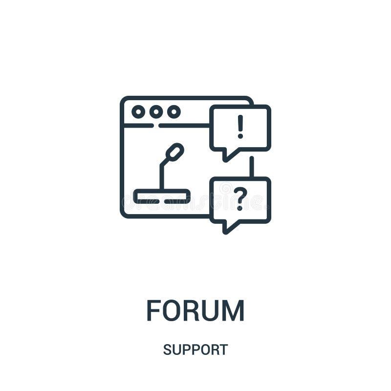 vector del icono del foro de la colección de la ayuda Línea fina ejemplo del vector del icono del esquema del foro Símbolo linear stock de ilustración