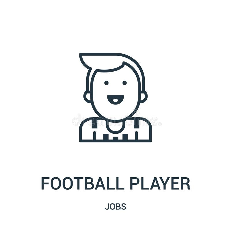 vector del icono del futbolista de la colección de los trabajos Línea fina ejemplo del vector del icono del esquema del futbolist stock de ilustración