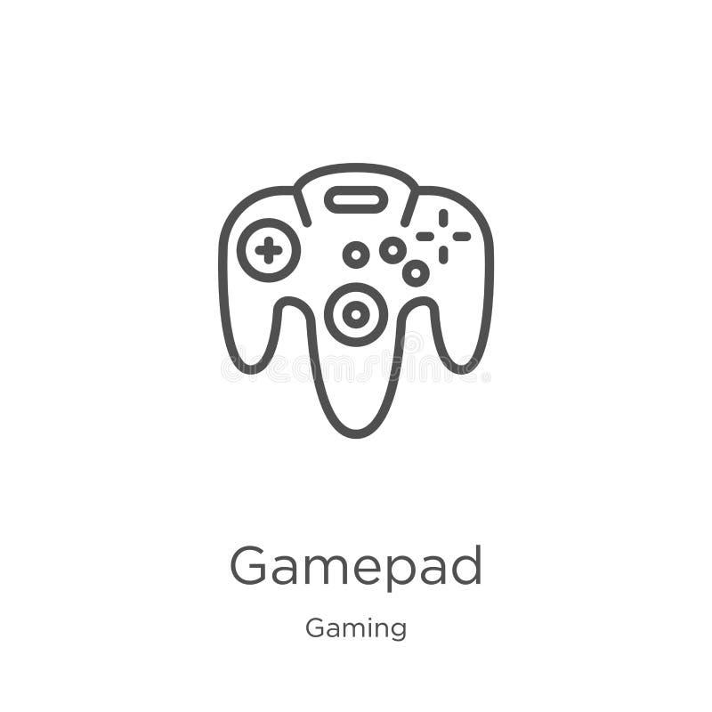 vector del icono del gamepad de la colecci?n del juego L?nea fina ejemplo del vector del icono del esquema del gamepad Esquema, l ilustración del vector