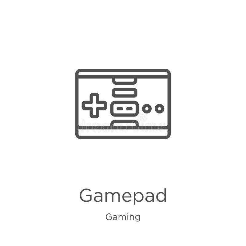 vector del icono del gamepad de la colecci?n del juego L?nea fina ejemplo del vector del icono del esquema del gamepad Esquema, l libre illustration