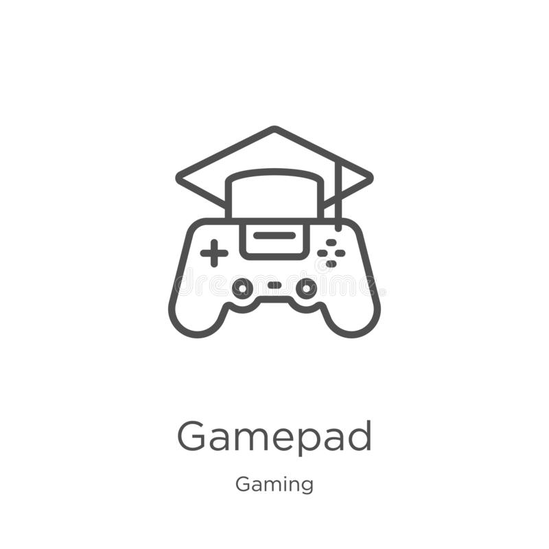 vector del icono del gamepad de la colecci?n del juego L?nea fina ejemplo del vector del icono del esquema del gamepad Esquema, l stock de ilustración