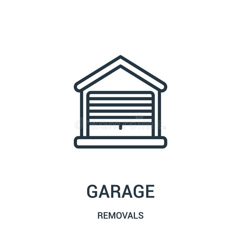 vector del icono del garaje de la colección de los retiros Línea fina ejemplo del vector del icono del esquema del garaje Símbolo stock de ilustración