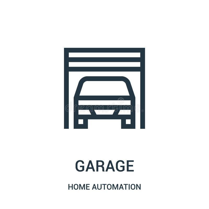 vector del icono del garaje de la colecci?n de la automatizaci?n casera L?nea fina ejemplo del vector del icono del esquema del g stock de ilustración
