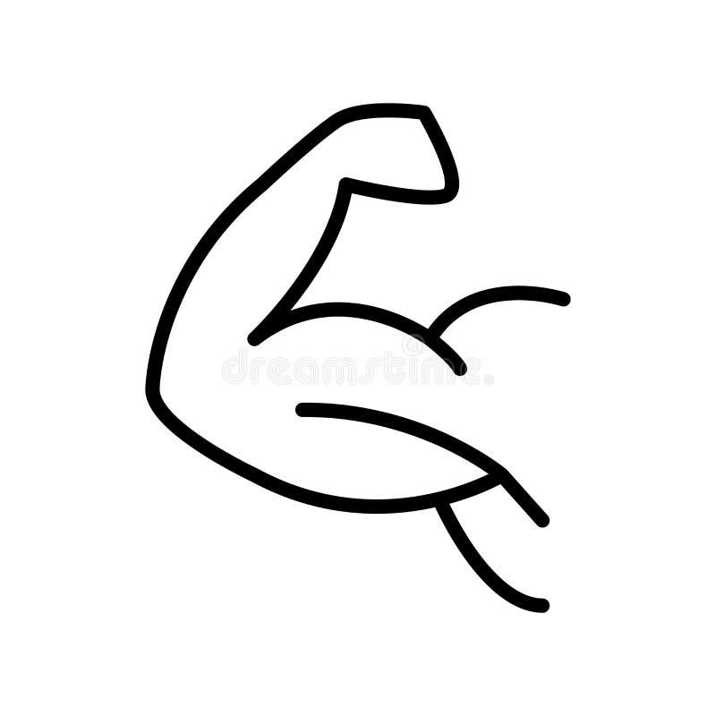 Vector del icono del gimnasio aislado en el fondo, la muestra del gimnasio, la línea y los elementos blancos del esquema en estil ilustración del vector