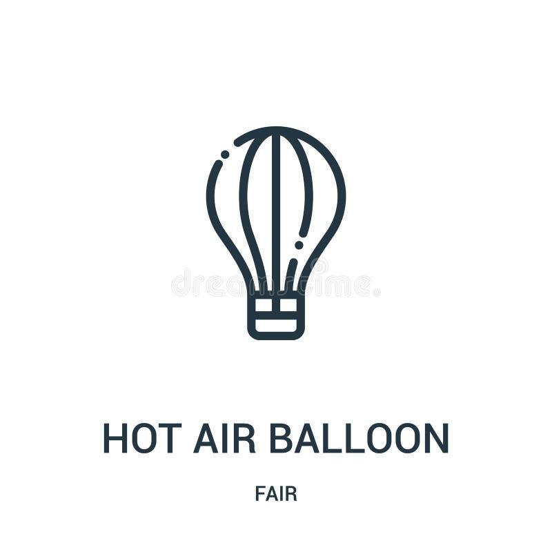 vector del icono del globo del aire caliente de la colección justa Línea fina ejemplo del vector del icono del esquema del globo  libre illustration