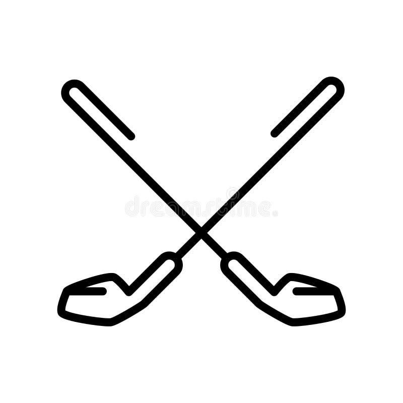 Vector del icono del golf aislado en el fondo, la muestra del golf, la línea y los elementos blancos del esquema en estilo linear libre illustration