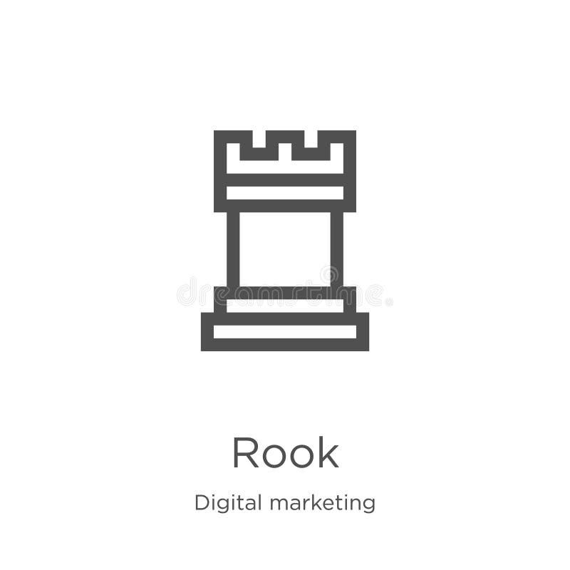 vector del icono del grajo de la colección de comercialización digital Línea fina ejemplo del vector del icono del esquema del gr libre illustration