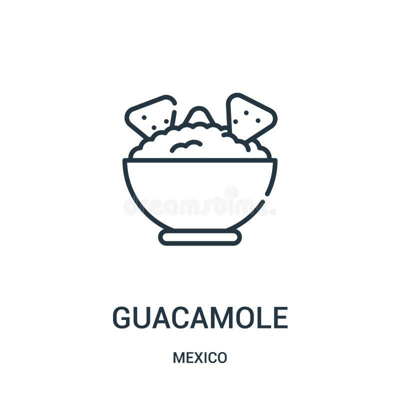 vector del icono del guacamole de la colección de México Línea fina ejemplo del vector del icono del esquema del guacamole ilustración del vector