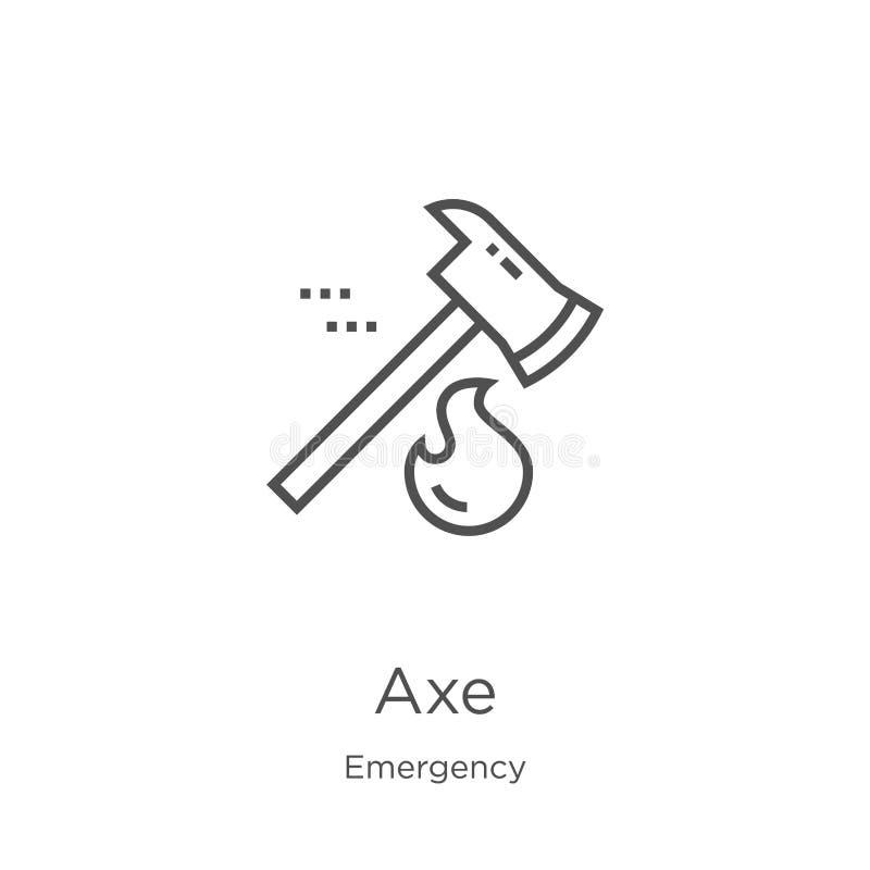 vector del icono del hacha de la colección de la emergencia Línea fina ejemplo del vector del icono del esquema del hacha Esquema stock de ilustración