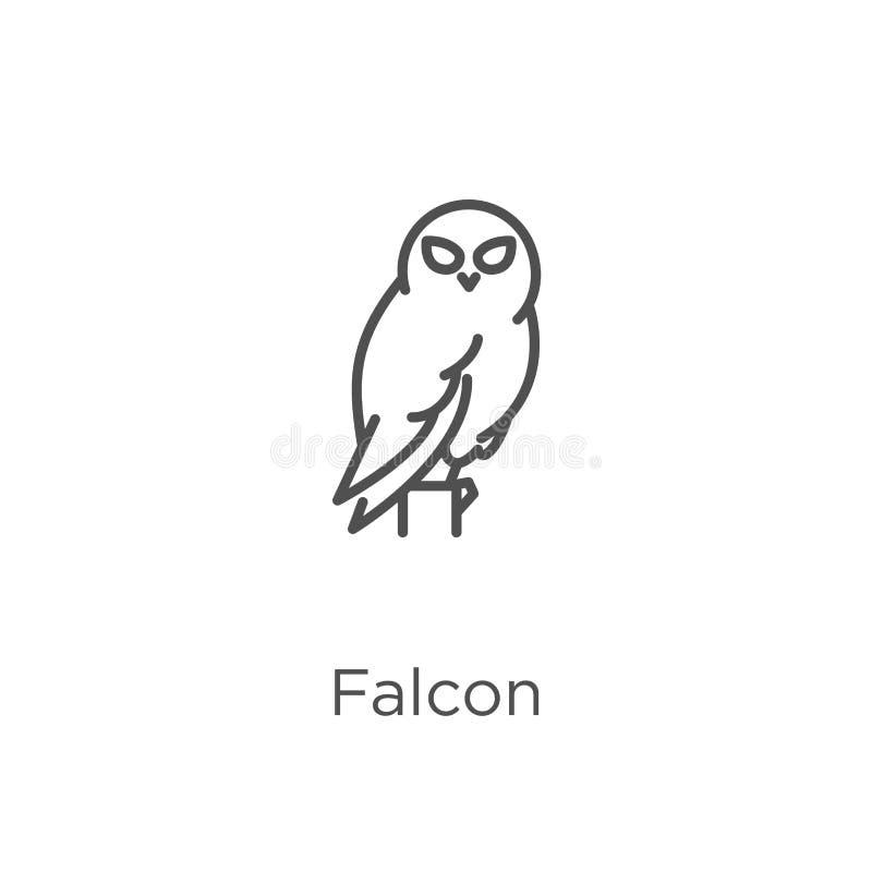 vector del icono del halcón de la colección del búho Línea fina ejemplo del vector del icono del esquema del halcón Esquema, líne ilustración del vector
