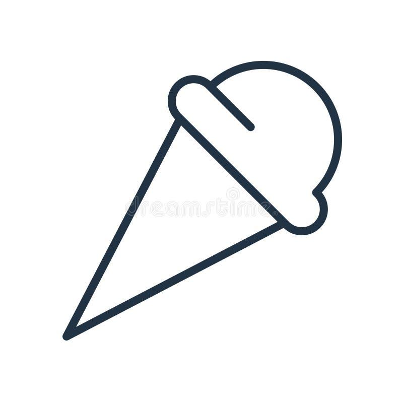 Vector del icono del helado aislado en el fondo blanco, muestra del helado stock de ilustración