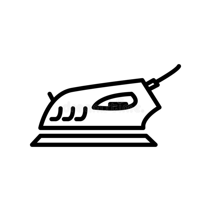 Vector del icono del hierro aislado en el fondo, la muestra del hierro, la línea y los elementos blancos del esquema en estilo li libre illustration