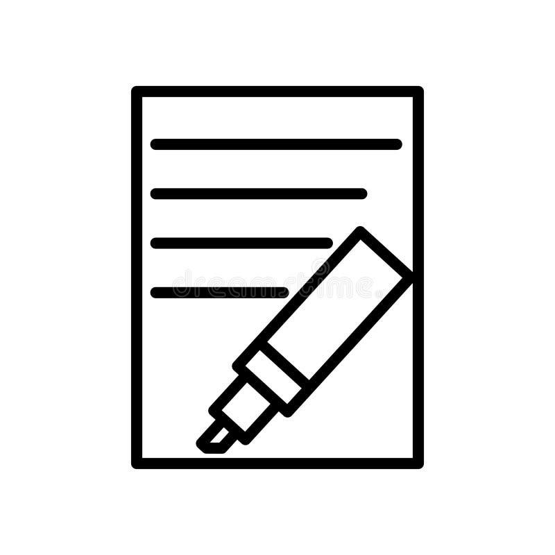 Vector del icono del Highlighter aislado en el fondo, la muestra del Highlighter, la línea y los elementos blancos del esquema en ilustración del vector