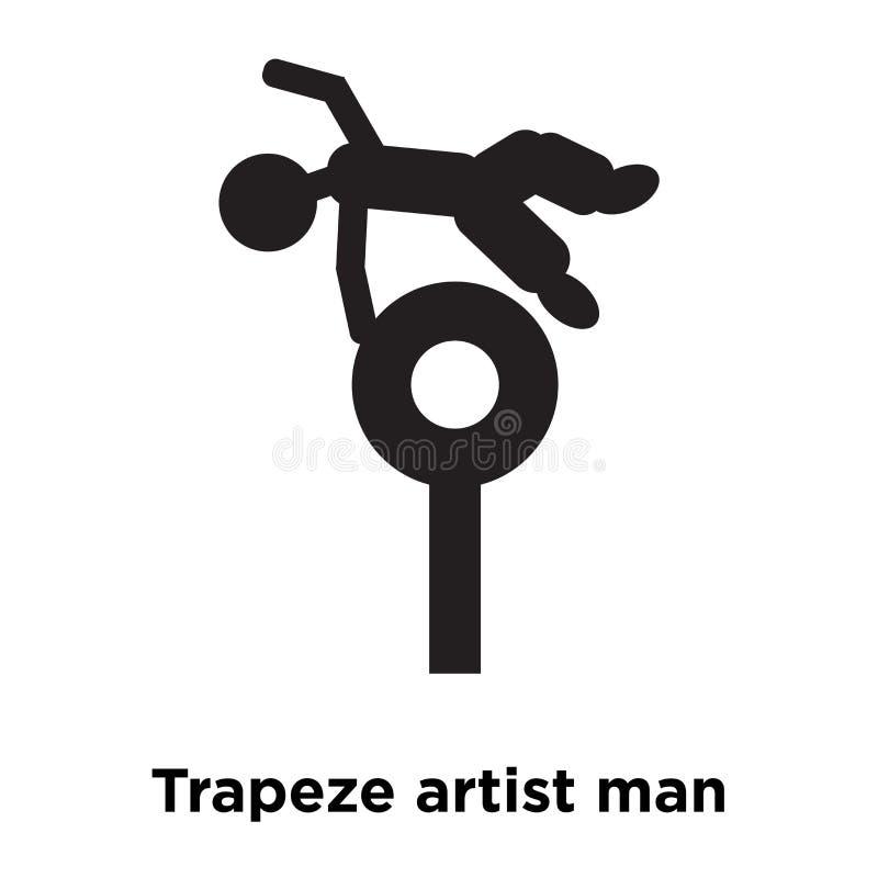Vector del icono del hombre del artista de trapecio aislado en el fondo blanco, registro stock de ilustración