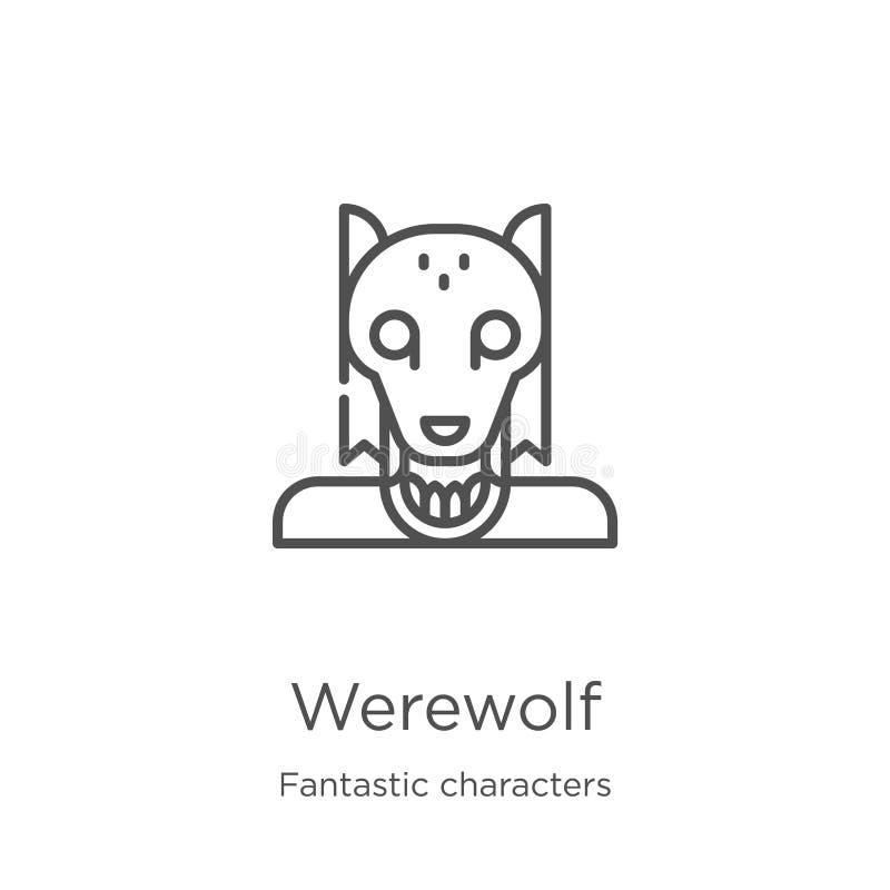 vector del icono del hombre lobo de la colección fantástica de los caracteres Línea fina ejemplo del vector del icono del esquema stock de ilustración