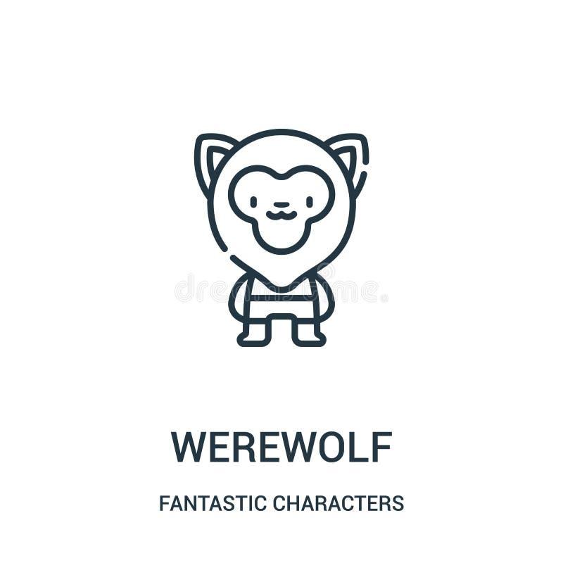 vector del icono del hombre lobo de la colección fantástica de los caracteres Línea fina ejemplo del vector del icono del esquema ilustración del vector