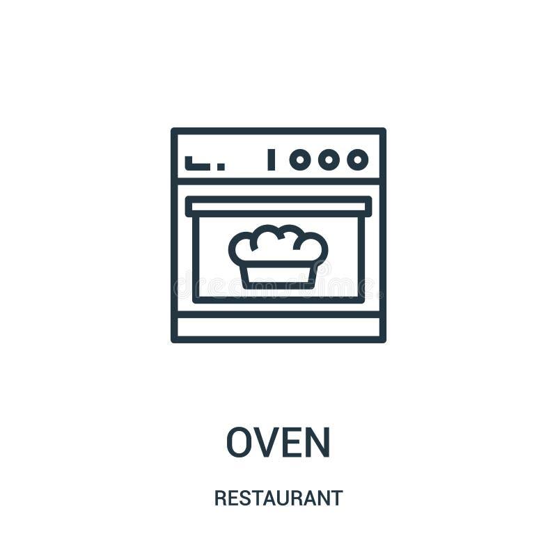 vector del icono del horno de la colección del restaurante L?nea fina ejemplo del vector del icono del esquema del horno libre illustration
