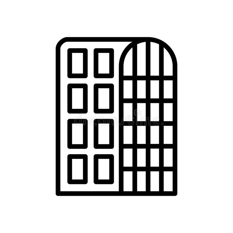 Vector del icono del hotel aislado en el fondo, la muestra del hotel, la línea y los elementos blancos del esquema en estilo line libre illustration