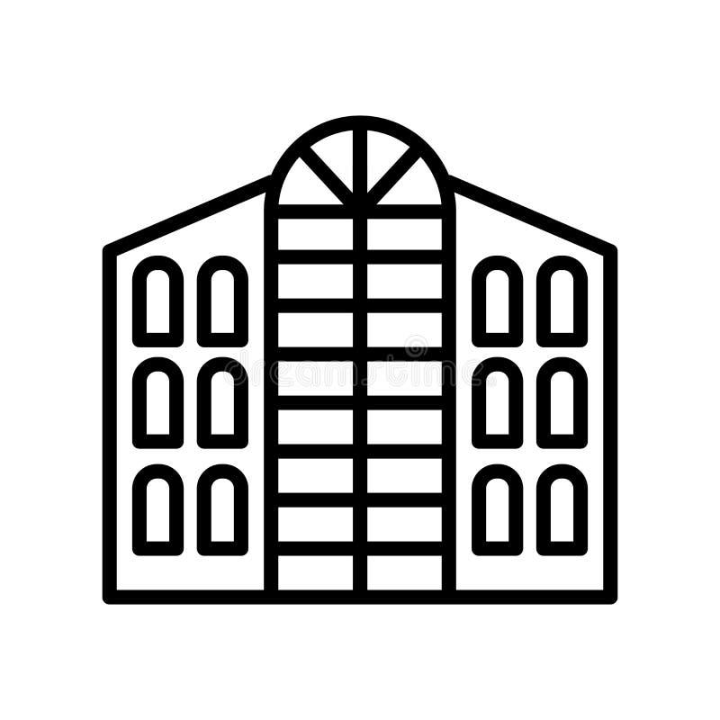 Vector del icono del hotel aislado en el fondo, la muestra del hotel, la línea y los elementos blancos del esquema en estilo line stock de ilustración