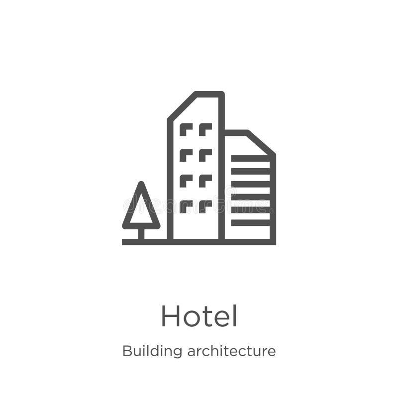 vector del icono del hotel de la colecci?n de la arquitectura del edificio L?nea fina ejemplo del vector del icono del esquema de stock de ilustración