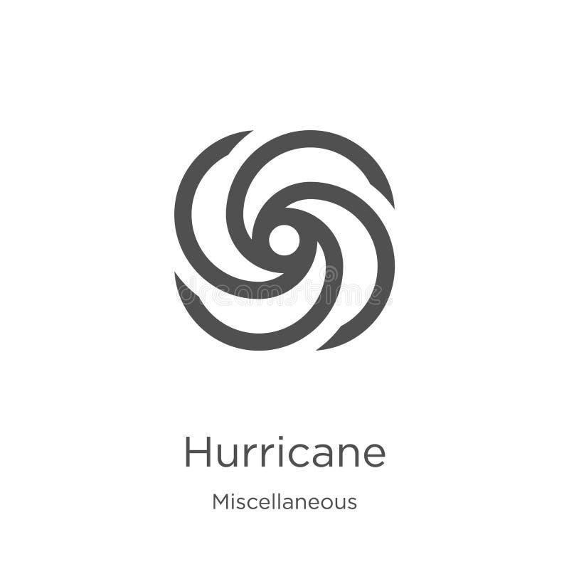 vector del icono del huracán de la colección diversa Línea fina ejemplo del vector del icono del esquema del huracán Esquema, l?n ilustración del vector