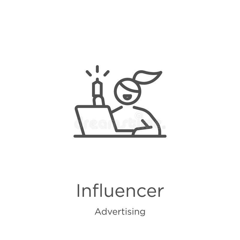 vector del icono del influencer de hacer publicidad la colección L?nea fina ejemplo del vector del icono del esquema del influenc stock de ilustración