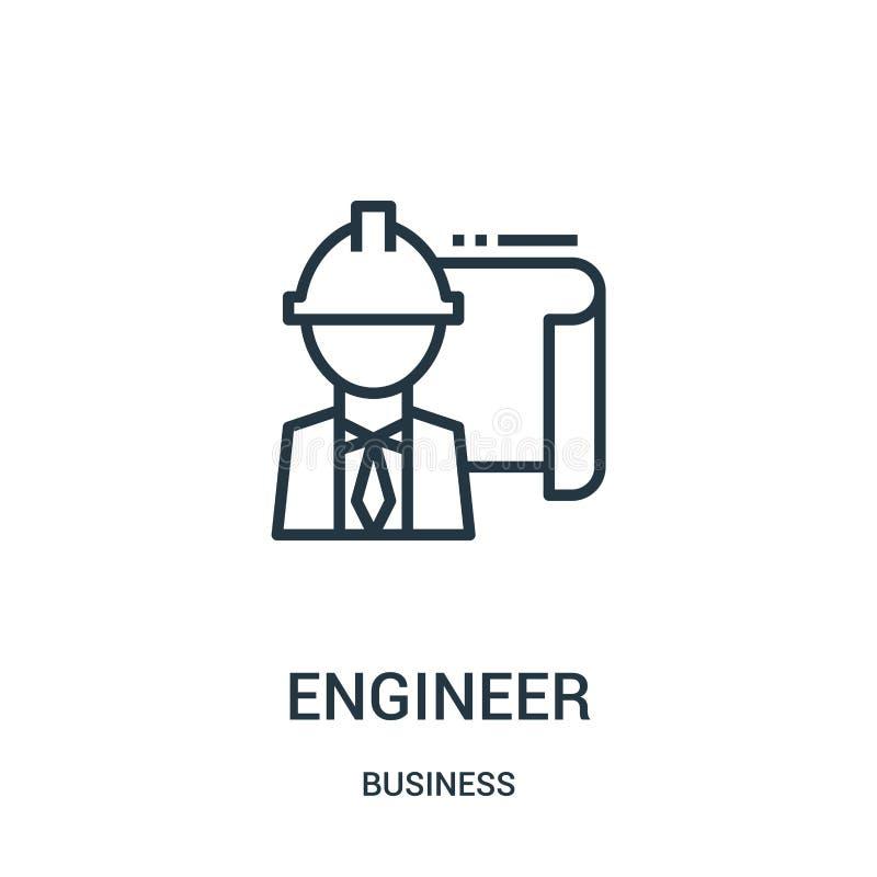 vector del icono del ingeniero de la colección del negocio Línea fina ejemplo del vector del icono del esquema del ingeniero Símb libre illustration